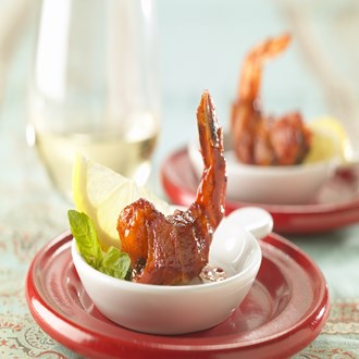 Barbecue Bacon-Wrapped Shrimp With Basil Stuffing