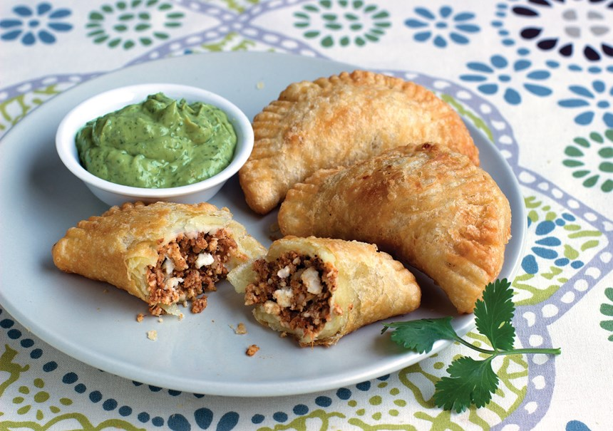 Chorizo & Cheese Empanadas with Avocado Crema