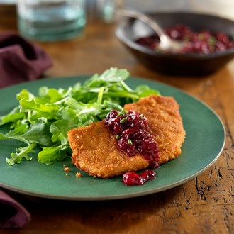 Ginger-Crusted Pork Cutlets with a Cinnamon Orange-Cranberry Chutney and Wilted Arugula