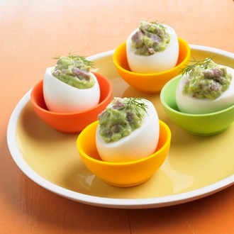 Ham and Avocado Deviled Eggs