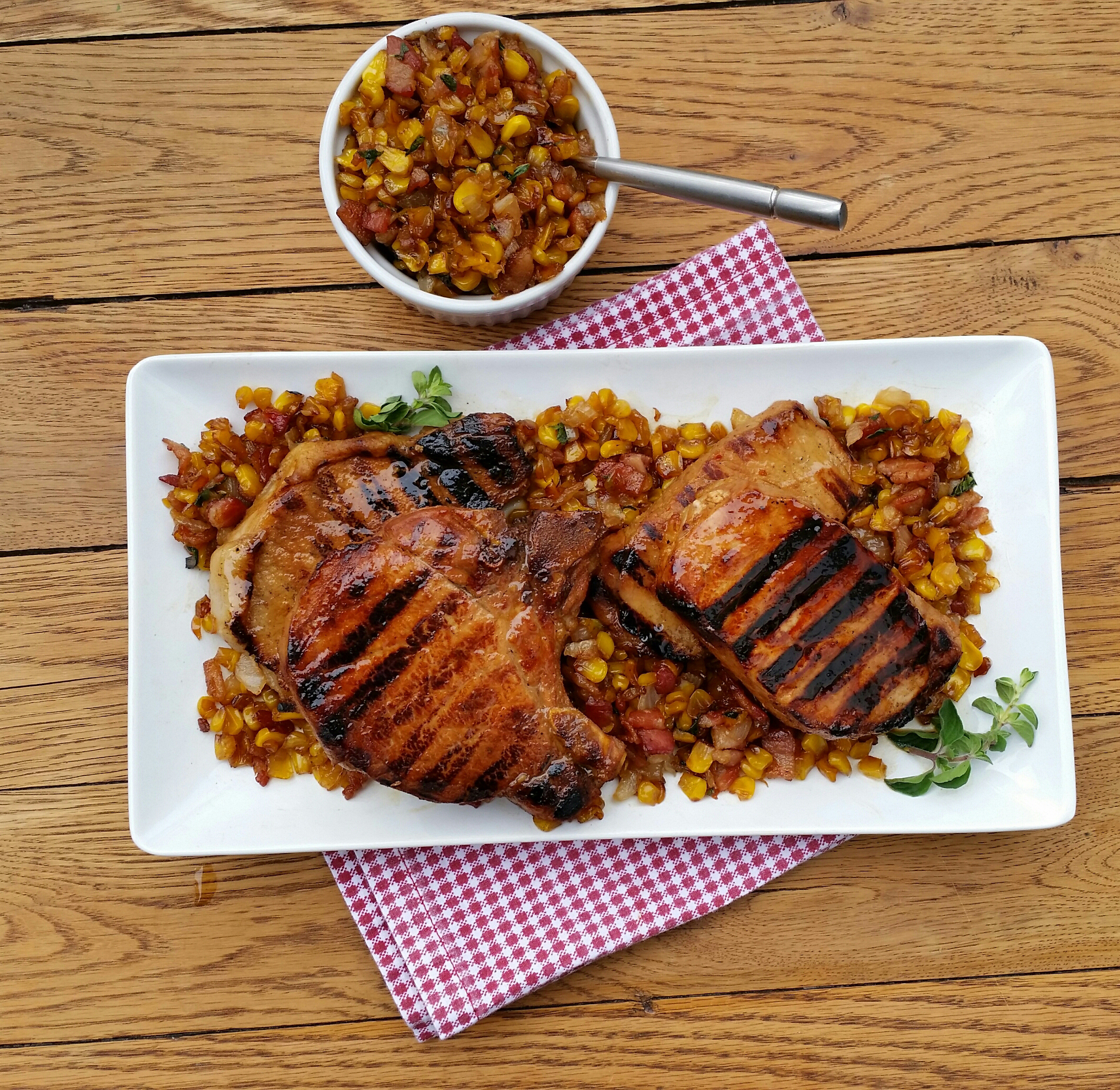 Grilled Pork Tenderloin with Corn-Bacon Relish